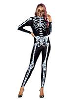 Недорогие -Скелет / Череп Косплэй Kостюмы Взрослые Жен. Сплошной Хэллоуин Хэллоуин Фестиваль / праздник Полиэстер Белый / Бледно-синий Жен. Карнавальные костюмы / трико / Комбинезон-пижама