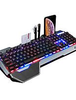 Недорогие -Проводная металлическая игровая клавиатура с подсветкой RGB с подставкой для запястий и держателем для телефона