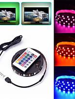 Недорогие -USB RGB светодиодные полосы light5m 5050 RGB световые полосы с пультом дистанционного управления 24 ключа для ТВ фоновое освещение кухня светодиодное освещение декор полосы светодиодные ленты