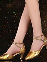 Недорогие -Жен. Танцевальная обувь Искусственная кожа Обувь для латины На каблуках Кубинский каблук Золотой / Серебряный / Красный