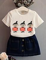 Недорогие -Дети Девочки Классический С принтом С короткими рукавами Набор одежды Белый