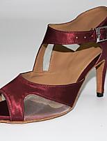 Недорогие -Жен. Танцевальная обувь Сатин Обувь для латины На каблуках Тонкий высокий каблук Персонализируемая Черный / Темно-лиловый