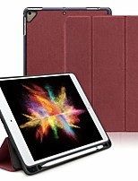 Недорогие -Кейс для Назначение Apple iPad Air / iPad (2018) / iPad Air 2 Защита от удара / со стендом / Флип Чехол Однотонный Кожа PU