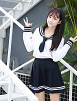 Недорогие -Вдохновлен Косплей Школьницы Аниме Косплэй костюмы Японский Косплей Костюмы / Школьная форма Юбки / Кофты / лук Назначение Жен. / Бабочка
