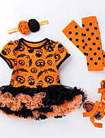 Недорогие -малыш Девочки Уличный стиль С принтом / Halloween Длинный рукав Обычный Хлопок Набор одежды Черный / Дети (1-4 лет)