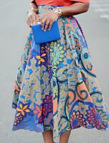 Недорогие -Жен. А-силуэт Подол Геометрический принт Синий M L XL