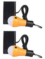 Недорогие -2шт 2 Вт газонные фонари / солнечная лампа водонепроницаемая / солнечная / творческий белый 5,5 В наружное освещение / бассейн / уличный светильник для палаток / двор 3 светодиодных шарика