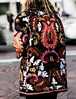 Недорогие -Жен. Повседневные Наступила зима Обычная Пальто, Геометрический принт V-образный вырез Длинный рукав Полиэстер Цвет радуги