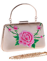 cheap -Women's Embroidery / Flower Polyester Evening Bag Floral Print Black / Blushing Pink / Almond