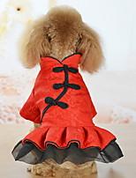 Недорогие -Собаки Коты Животные Платья Одежда для собак Классика Красный Полиэстер Костюм Назначение Лето Этнический