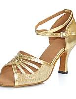 Недорогие -Жен. Танцевальная обувь Полиуретан Обувь для латины На каблуках Тонкий высокий каблук Золотой