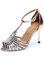 Недорогие -Жен. Танцевальная обувь Полиуретан Обувь для латины Планка На каблуках Тонкий высокий каблук Персонализируемая Серебряный