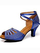 Недорогие -Жен. Танцевальная обувь Сатин Обувь для латины На каблуках Кубинский каблук Телесный / Синий