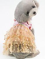 Недорогие -Собаки Коты Животные Платья Одежда для собак Вышивка Лиловый Хаки Полиэстер Костюм Назначение Лето С цветами