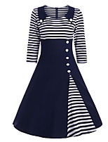 cheap -Audrey Hepburn 1950s Vintage Flapper Dress Women's Spandex Costume Navy Blue Vintage Cosplay 3/4 Length Sleeve Midi A-Line