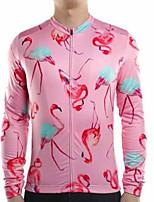Недорогие -21Grams Фламинго Муж. Длинный рукав Велокофты - Розовый Велоспорт Джерси Верхняя часть Сохраняет тепло Устойчивость к УФ Дышащий Виды спорта Зима 100% полиэстер Горные велосипеды Шоссейные велосипеды