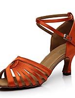 Недорогие -Жен. Танцевальная обувь Синтетика Обувь для латины На каблуках Тонкий высокий каблук Черный / Оранжевый / Кофейный