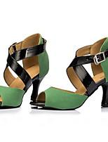 Недорогие -Жен. Танцевальная обувь Кожа Обувь для латины На каблуках Тонкий высокий каблук Зеленый