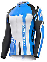 Недорогие -21Grams Муж. Длинный рукав Велокофты Синий / белый Велоспорт Джерси Верхняя часть Сохраняет тепло Устойчивость к УФ Дышащий Виды спорта Зима 100% полиэстер Горные велосипеды Шоссейные велосипеды