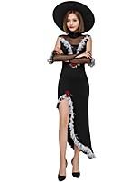 Недорогие -ведьма Товары для Хэллоуина Взрослые Жен. Хэллоуин Хэллоуин Фестиваль / праздник полиэфирное волокно Черный Жен. Карнавальные костюмы / Костюм