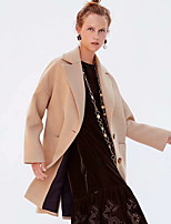 Недорогие -Жен. Повседневные Длинная Пальто, Однотонный Лацкан с тупым углом Длинный рукав Полиэстер Хаки