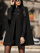 Недорогие -Жен. Повседневные Наступила зима Обычная Пальто, Однотонный Воротник-стойка Длинный рукав Полиэстер Черный
