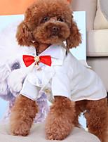 Недорогие -Собаки Инвентарь смокинг Одежда для собак Однотонный Черный Белый Полиэстер Костюм Назначение Лето Свадьба