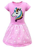 Недорогие -Дети (1-4 лет) Девочки Геометрический принт Платье Лиловый
