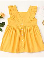 Недорогие -Дети (1-4 лет) Девочки Однотонный Платье Желтый
