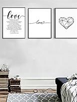 Недорогие -С картинкой Роликовые холсты - Сердца Слова и фразы Modern 3 панели Репродукции