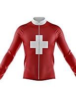 Недорогие -21Grams Switzerland Флаги Муж. Длинный рукав Велокофты - Красный Велоспорт Джерси Верхняя часть Сохраняет тепло Устойчивость к УФ Дышащий Виды спорта Зима 100% полиэстер / Эластичная