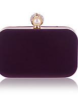 Недорогие -Жен. Жемчужная отделка Бархат Вечерняя сумочка Сплошной цвет Черный / Лиловый / Пурпурный