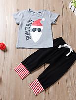 Недорогие -малыш Мальчики Активный / Классический Черный и красный / Дед Мороз С принтом Бант / С принтом / Кулиска С короткими рукавами Обычный Обычная Набор одежды Цвет радуги