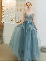 cheap -A-Line Spaghetti Strap Floor Length Tulle Prom Dress with Beading / Sequin / Appliques by LAN TING Express