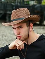 Недорогие -Муж. В стиле 1930-х Соломенная шляпа Лён Кожа,Однотонный Лето Белый Коричневый Хаки