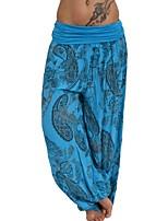Недорогие -Жен. Штаны для йоги Геометрия Пыльно-синий Фитнес Тренировка в тренажерном зале Панталоны Большие размеры Спортивная одежда Дышащий Влагоотводящие Быстровысыхающий Слабоэластичная Свободный силуэт