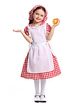 cheap -Maid Costume Dress Hat Flower Girl Dress Girls' Movie Cosplay A-Line Slip Red Dress Apron Hat Children's Day Masquerade Cotton / Polyester