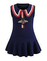 Недорогие -Дети Дети (1-4 лет) Девочки Классический Милая Однотонный Вышивка Без рукавов Выше колена Платье Синий