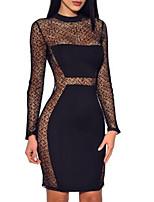 Недорогие -Жен. Классический Оболочка Маленькое черное Платье - Однотонный Выше колена