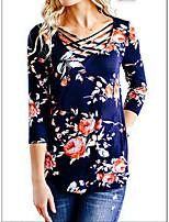 Недорогие -Жен. Блуза Цветочный принт Белый