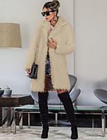 Недорогие -Жен. Повседневные Классический Зима Длинная Пальто, Однотонный Лацкан с тупым углом Длинный рукав Хлопок Черный / Светло-коричневый / Коричневый