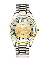 Недорогие -Муж. Нарядные часы Кварцевый Формальный Стильные Нержавеющая сталь Серебристый металл / Золотистый Повседневные часы Аналоговый Мода - Золотистый Белый Один год Срок службы батареи