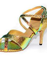 Недорогие -Жен. Танцевальная обувь ПВХ Обувь для латины На каблуках Тонкий высокий каблук Персонализируемая Золотой / Синий