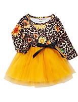 Недорогие -Дети Девочки Симпатичные Стиль Растения Платье Желтый