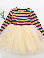 Недорогие -Дети (1-4 лет) Девочки Полоски Платье Бежевый