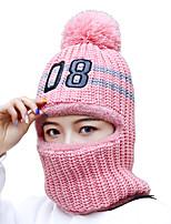 Недорогие -Жен. Активный Классический Симпатичные Стиль Лыжная шапочка Акрил,Контрастных цветов Цветочный принт Зима Белый Розовый Бежевый