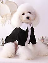 Недорогие -Собаки Инвентарь смокинг Одежда для собак Однотонный Черный Полиэстер Костюм Назначение Лето Свадьба