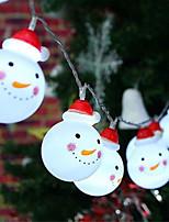 Недорогие -1,5 м гирлянды 10 светодиодов теплый белый / RGB / белый / рождественские снеговика строка / рождественские украшения огни / вечеринка / декоративные / свадьба с батарейным питанием 1 комплект