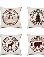 Недорогие -4.0 штук Лён Наволочка, Особый дизайн Мультипликация Мультяшная тематика Рождество Бросить подушку