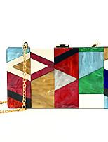 Недорогие -Жен. Акрил Вечерняя сумочка Контрастных цветов Красный / Серый